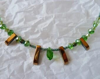 "Necklace ""Summer morning"" - Crystal Swaroski - Hematite - unique Creation."