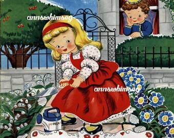 Nursery Art, Nursery Art Print, Baby's Room Ar, Nursery Art Print.  Nursery Rhyme Restored Art #387  (Set Four)