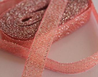 pretty salmon silver glittery Ribbon
