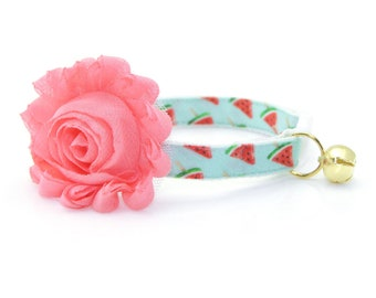 "Cat Collar + Flower Set - ""Watermelon Pops"" - Mint Fruit Cat Collar w/ ""Coral Pink"" Flower (Detachable) / Summer / Cat, Kitten & Small Dog"