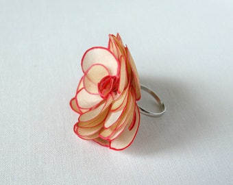 Pink and light brown silk rose ring - hand painted silk rose - natural silk flower adjustable ring - statement ring
