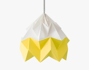 Moth origami lampshade autumn yellow and white