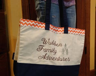 Personalized Family Adventures Bag With Family Name & Choice Of Design