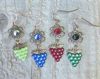 Hand Painted Grape Earrings w/Swarovski Rhinestones, Vineyard Jewelry, Wine Lovers earrings, Winery Themed, Brass, Lightweight