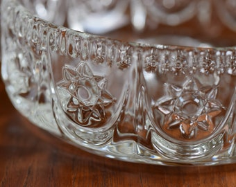 Beautiful vintage glass bowl from the 60s/70s, glass bowl, floral decor, retro