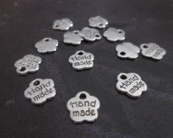 10 charms Hand made silver-plated 8x8mm
