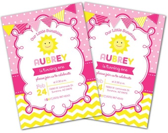 You are my Sunshine Birthday Invitation, Sunshine invite, Sunshine Birthday Party, Photo Invite, Hot Pink, Yellow, Lemonade, Chevron (S2)