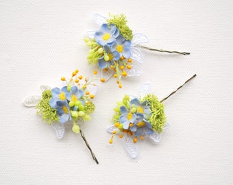 Blue Forget Me Not Bobby Pins, Set of Three, Weddings Blue Hair Accessories, Bridal Hair Clips, Bridesmaids Pins, Flower Girls, Photo Prop