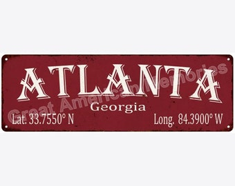 Atlanta Latitude & Longitude Black Metal Sign 6x18 6180415