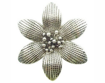 1 Silver Flower Charm Pendant 50x45mm by TIJC SP0654