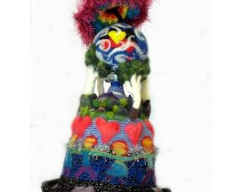 Needlefelt Sculpture Art Hat  Wearable Art  'A Head Full of Love  All The World Under One Umbrella'   Alice Springs Beanie Festival Hat