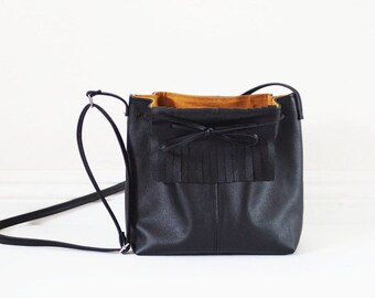 Sale small black fringe leather crossbody bag with a bow