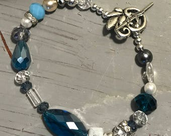 Women's Czech Bead Toggle Bracelet Pearl Stone Faceted Bracelet