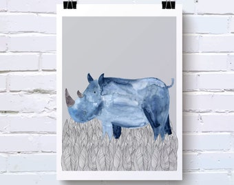 Blue Rhino Watercolour print