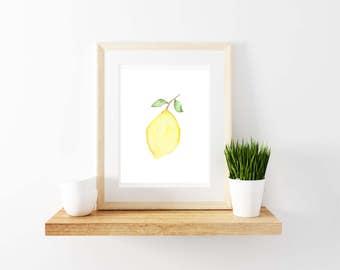 Lemon Watercolor Print. Kitchen Decor. Lemon Print