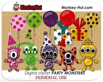 Cute little monster clip art set (monsters, party, birthday) personal use INSTANT DOWNLOAD