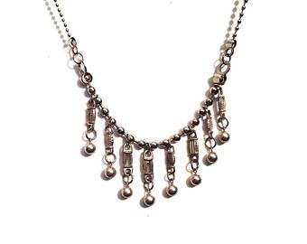 Silver Metal Fringe Necklace