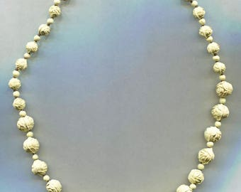 Molded White Roses & Beads Necklace
