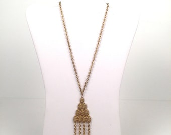 Vintage 1970s Gold Triangle Tassel Pendant Necklace