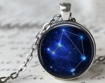 Libra - Zodiac Pendant Necklace or Key Chain - Choice of 4 Bezel Colors - Sept. 23rd - Oct. 22nd  Birthday, Constellations, Space