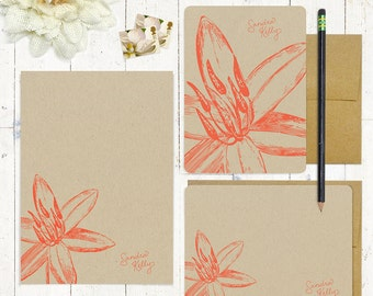 complete personalized stationery set - GARDEN LILY flower bloom - kraft stationary - folded note cards - flat cards - notepad - floral