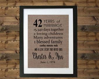 wedding anniversary gifts 42 years