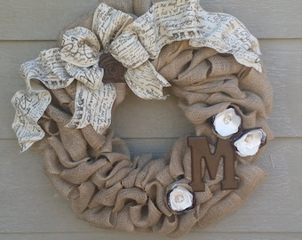 Burlap Monogram Wreath With Large FRENCH SCRIPT  Bow and rose - X-Large 25 inch - Tan Burlap Wreath