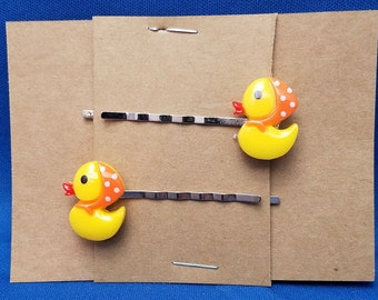 RUBBER DUCK GIRL Toy Bobby PIn Hair Clip Accessory - Set of 2 Handmade