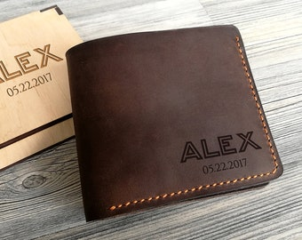 Personalized Leather Wallet Personalized Gift for Men Fathers Day Gifts for Dad Mens Leather Wallet Mens Wallet Personalized Groomsmen Gift