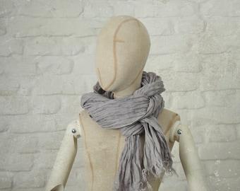 PURPLE GREY LINEN scarf / soft fringe