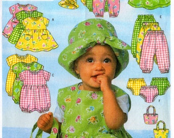 Uncut Infants' DRESS JUMPER ROMPER Jumpsuit Panties Pants Hat & Bag Pattern Butterick #5624 Size Nb-Sm-Med Baby Summer/Easter Sewing