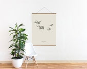 "Swallow Illustration Birds – Big Art Print – Multiple sizes available  8"" x 10"" / 12"" x 18"" / 24"" x 36"""