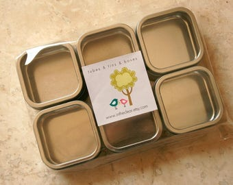 Square Window Tins - set of 100 - 2 x 2 x 1 - 2 Ounces Capacity - Perfect for Spices, Wedding Favors and Retail Packaging
