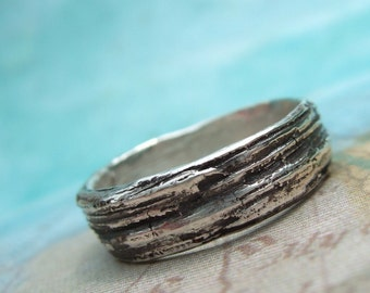 Silver Bark Ring, Faux Bois Jewelry, Sterling Silver, An Eco Friendly Gift, Wood Grain Pattern Ring, 4 5 6 7 8 9 10 11 12 13 14 15 Size