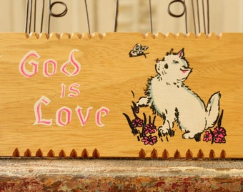 Vintage Wood Religious Plaque, Wood Plaque, Wall Hanging, Sunday School, Religious Wall Art, Cat and Butterfly, God is Love  Bible Verse