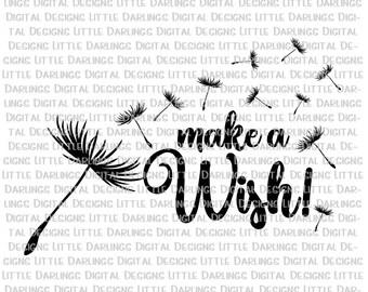 Dandelion Svg, Blowing Dandelion Svg, Make A Wish Svg, Dandelion Cut File, Wishing Flower Svg, Make A Wish cut File, Wishing Flower Cut File
