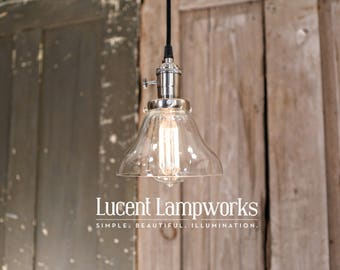Clear Glass Open Shade Pendant Fixture - 6 Inch