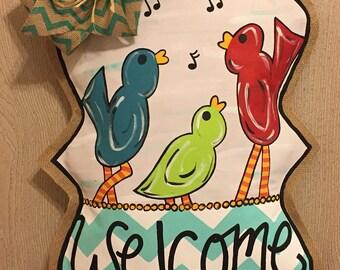 Bird Burlap Door Hanger; spring door hanger