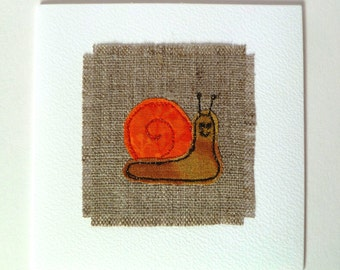 Snail greetings card. Birthday card or note card with freehand embroidered snail design. On natural linen and white textured card.