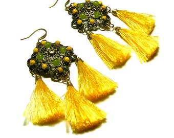 Boho Earrings, Boho Tassel Earrings, Yellow Tassel Earrings, Fringe Earrings, Bold Earrings, Handmade Fringe Tassel Earrings, Bohemian