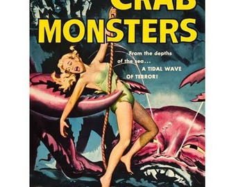 Attack of the Crab Monsters Movie Poster Art - Vintage Print Art - Home Decor - Horror Movie Theater Poster