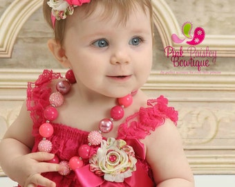 Baby Girl 1st Birthday Outfit - Cake Smash Outfit- Ruffle Rompers - Baby Romper  Pink Birthday Outfit - Hot Pink Baby Girl Dress, Baby Dress