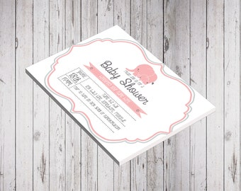 Download Only - Baby Pink Elephant Baby Shower Invitation