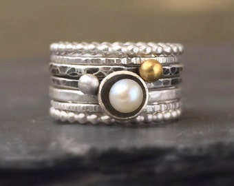 Hammered Silver Stacking Rings with White Pearl, Gold Dot Ring, Beaded Bands, Mixed Textures, Oxidized and Polished, Seven Stackable Rings