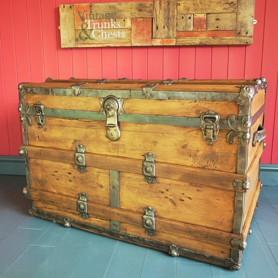 ANTIQUE STEAMER TRUNK Wooden Storage Chest Reclaimed Victorian Dome Travel Trunk Rustic Pine Box