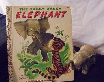 Vintage A Little Golden Book, The Saggy Baggy Elephant, 1960's