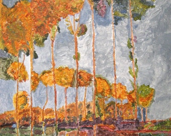 "Framed Painting Autumn Poplars Painting Impressionist Painting Autumn Trees Painting Inspired by Monet Orange Gray 15x18"" Landscape Painting"