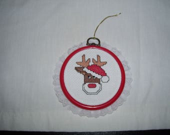 Rudolph Red Nose Reindeer Wearing Santa Hat Cross Stitch Framed Ornament Wall Hanging