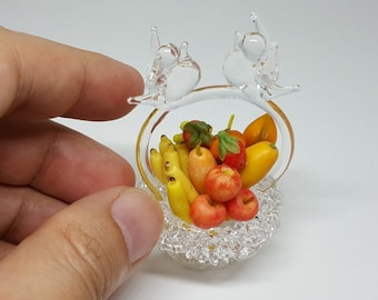 Clay Fruit Handicraft in Basket Glass for Dollhouse Miniature