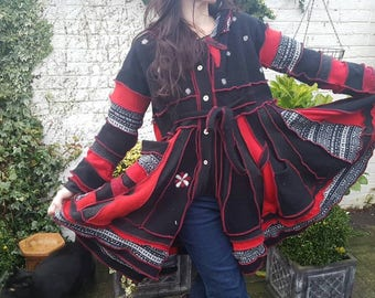 Elven hooded coat. Upcycled sweater coat. Hippy clothing. Pixie hooded coat. Sweater coat. Recycled sweaters. Pixie clothing. Boho clothing